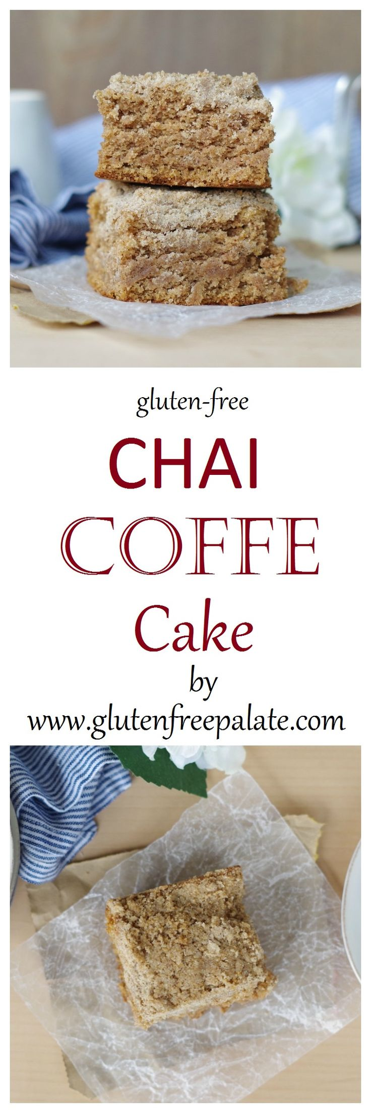 Perfect with coffee or tea, this Gluten-Free Chai Coffee Cake is sweet and spicy and perfect for any occasion. The rich buttery cake topped with a chai spiced crumbly topping will have you licking your fork.