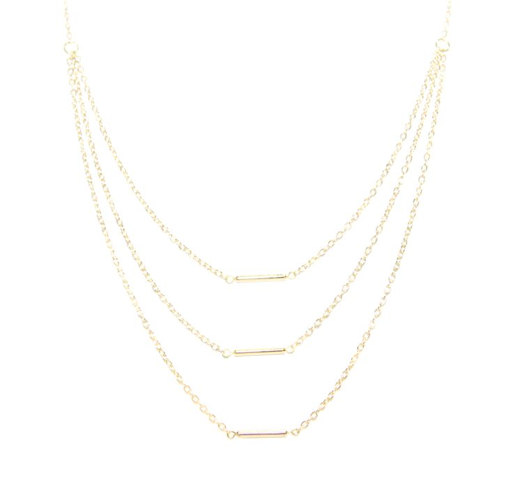 ValentinaNecklace - GoldBar - The ultimate statement piece in our debut collection, our Valentina necklace is your instant route to sure-fire sophistication and glamour. Add to an open neckline or cocktail dress, shimmer through your evening and bask in its alluring power.  Made using our sparkling 14 carat gold-plated fine chain and accentuated with three individual gold bars. Finished with a lobster clasp fastening, an extension chain and a HOLLYGALORE charm. £54.99