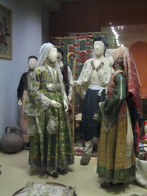 Greek folk costumes in the Peloponnesian Folklore Foundation & Folk Art Museum, Nafplion