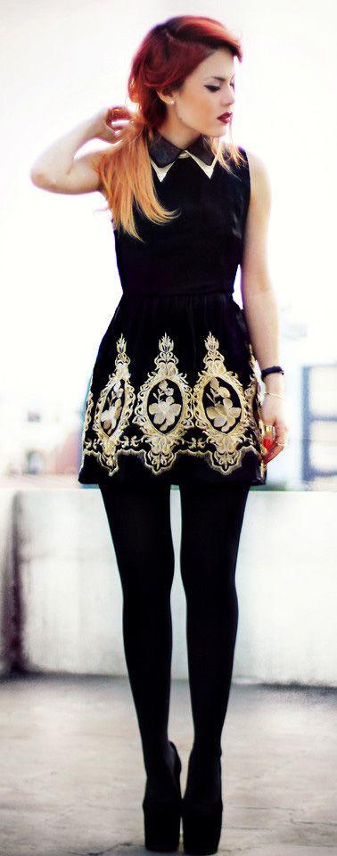 Golden Embroidery Sleeveless Black Dress