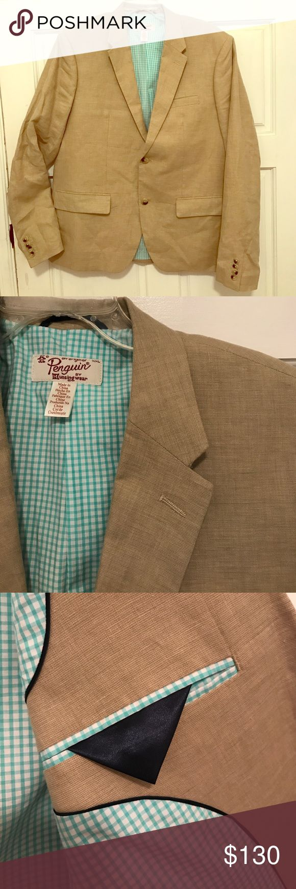 🌟FLASH SALE! NWOT Orig Penguin linen blazer XXL New without tag attached Original Penguin brand men's sport coat in tan toned linen!  This blazer is perfect for spring and summer, it's lined with a mint green gingham print and has tortoise patterned buttons.  The extra buttons are still attached and the pleat at the back is still tacked down.  Size is XXL which I would estimate is roughly 44-46ish.  Outer material is 100% linen and the inside is fully lined! Original Penguin Suits & Blazers…