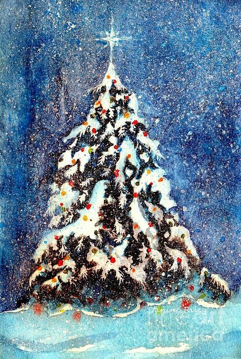 Oh Christmas Tree Watercolor Painting By Janine Riley