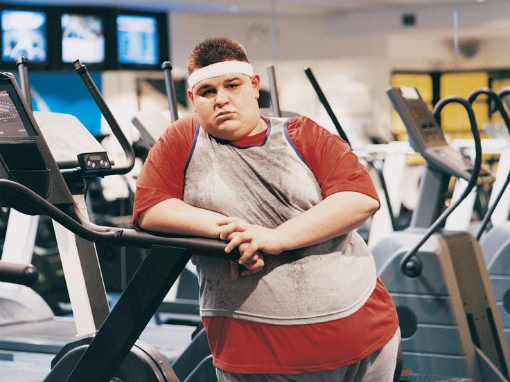 Overweight man at gym
