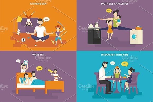 ilustraciones planas familiares conjunto # 21 - Ilustraciones