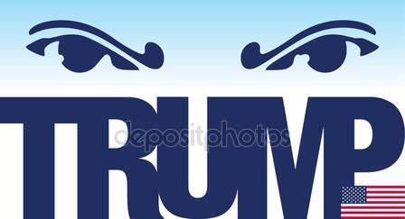Donald Trump, illustrazione ed elaborazione grafica con nome e bandiera — Vettoriali  Stock © frizio #137459026