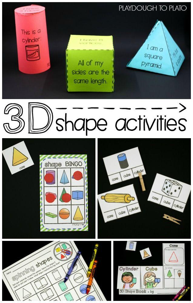 3D Shape Activities 3d shapes activities, Teaching