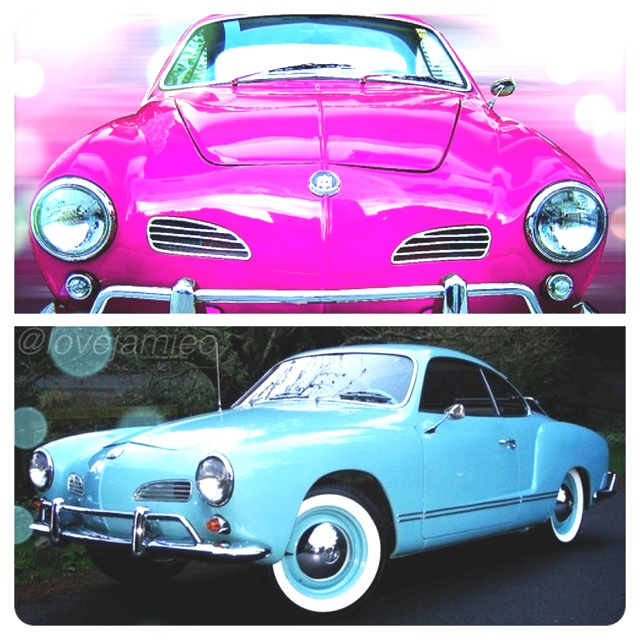 My dream car(s). A pink or turquoise Volkswagen Karmann Ghia.