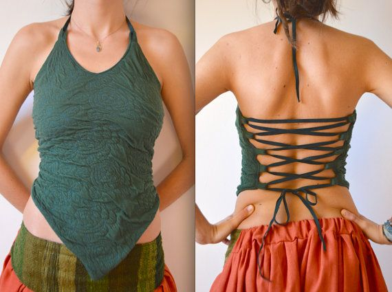 Pixie top, halter top, fairy, hippie, psytrance, boho, tribal clothing, yoga top, festival, hippie clothes, elven top, backless, psy, summer