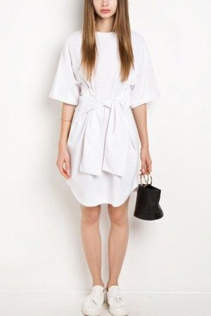 White Round Neck Knotted Casual Dress @ Casual Dresses,Women Casual Dresses,Cheap Casual Dresses,Cute Casual Dresses,Casual Dresses for Juniors,Womens Casual Dresses,Casual Summer Dresses,Casual Maxi Dresses,Long Casual Dresses,Short Casual Dresses,White Casual Dresses,Sexy Casual Dresses