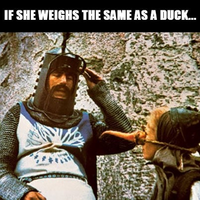 Image result for if she weighs the same as a duck quote