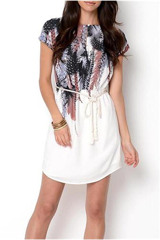Kensie Feather Print Dress - Enviius