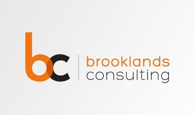 brooklands consulting logo. Company lettering: Hero Regular, Hero Light. 'bc' lettering: Kabel Heavy