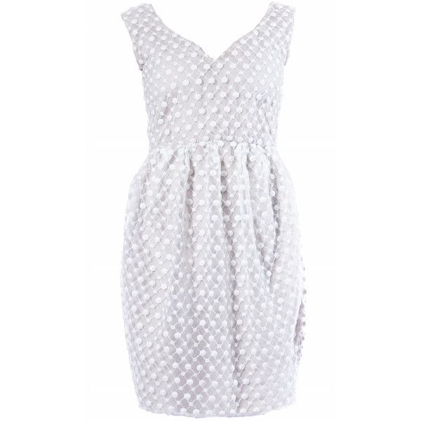 Elena Perseil White Lace Mini Dress ($787) ❤ liked on Polyvore featuring dresses, white, tulip dress, white deep v neck dress, white dress, short lace dress and white cocktail dresses