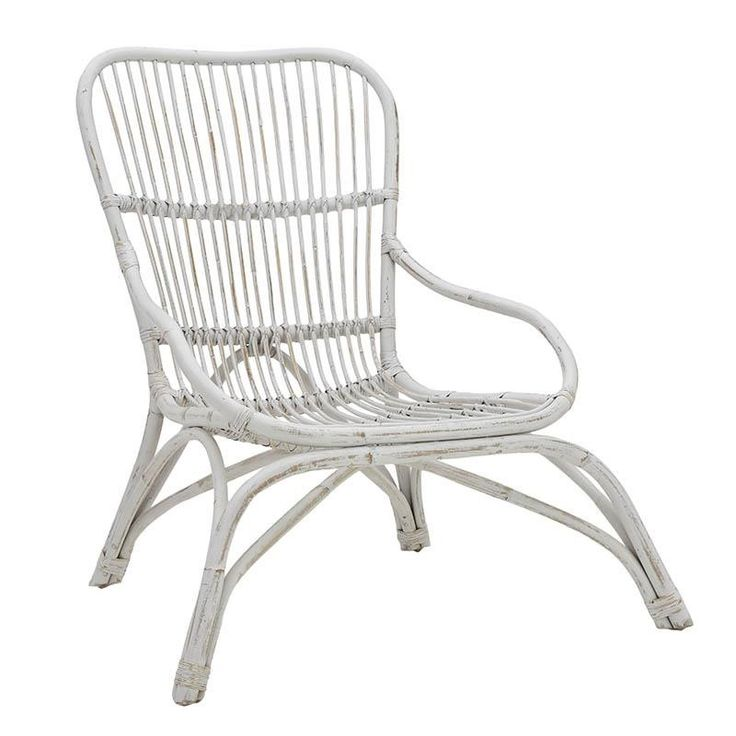 RATTAN LOUNGE CHAIR IN WASHED WHITE COLOR 60Χ90Χ97