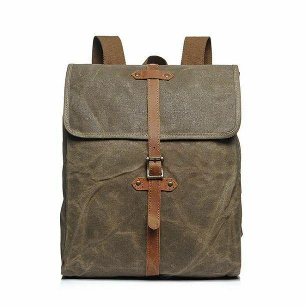 Vintage Men//Women Waterproof Oil Wax Canvas+Real Leather Backpack Travel Bag