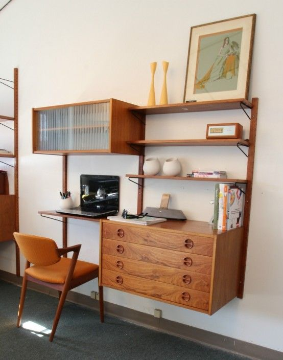 Decoration, Amusing Functional Office Furniture Interior Mid Century Wall  Units Combining With White Painting Wall As Well As Artistic Vintage Wooden  Chair ...