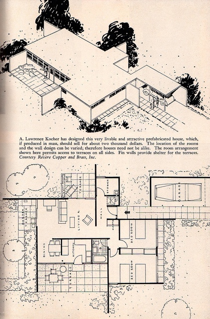 A  Lawrence Kocher Mid Century Modern   Home Furnishings Second Edition   1948 Anna59 best Mid Century Floor Plans images on Pinterest   Modern house  . Mid Century Modern Home Floor Plans. Home Design Ideas