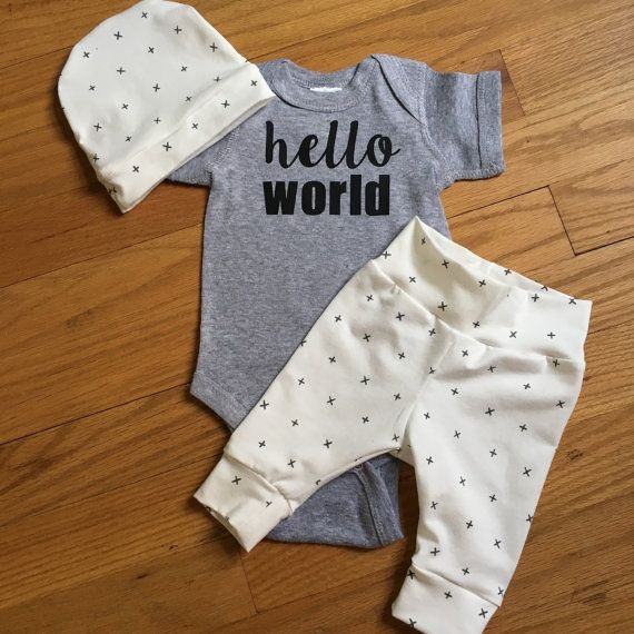 Baby boy going home set - cross your heart theme - hello world, baby shower gift, coming home outfit new baby going home outfit