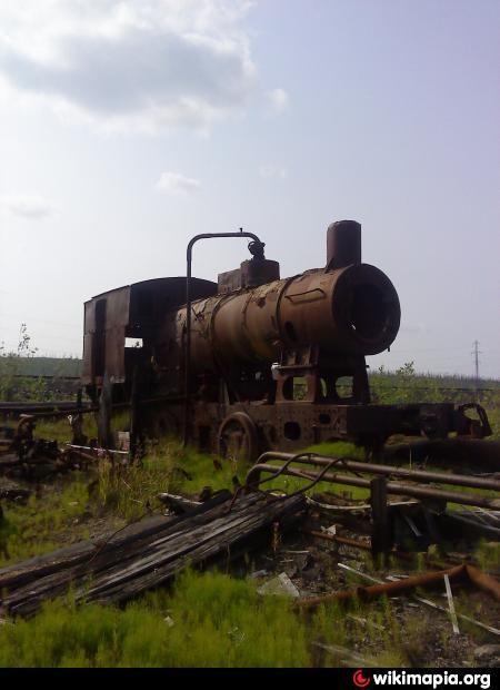 Заброшенный паровоз-котельная и руины зданий (развалины Неожиданное)