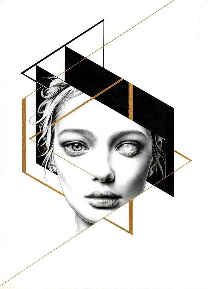 pencil、mechanical pencil 、black \ white pen 、golden ink on paper - Injr Hsu