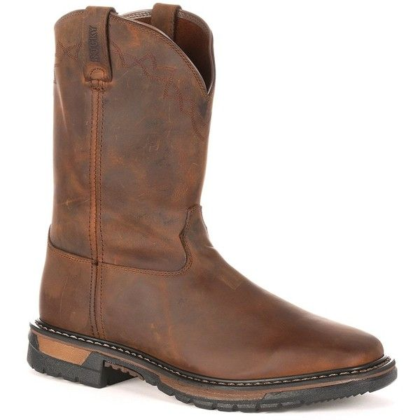 Rocky Original Ride Men's Steel-Toe Work Boots ($170) ❤ liked on Polyvore featuring men's fashion, men's shoes, men's boots, men's work boots, dark brown, mens western boots, mens cowboy boots, men's pull on boots, mens slip on work boots and mens western work boots