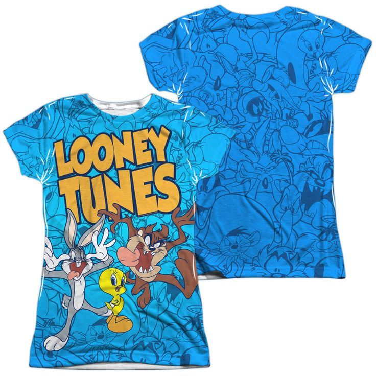 Looney Tunes - Collage Of Characters Front & Back Sublimation Junior Shirt