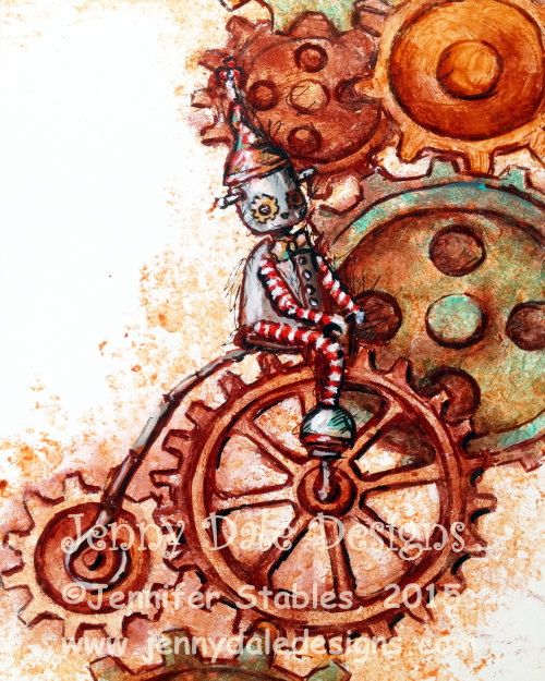 Steampunk Style Cute Robot with Gears- penny-farthing bike robot; mustard, teal, and orange color; whimsical modern nursery decor art print by JennyDaleDesigns on Etsy