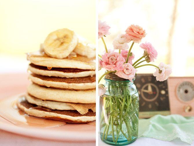 flowers in mason jars: Mason Jars Flowers, Ears Mornings, Pancakes Parties, Banana Pancakes, Pancakes Breakfast, Pretty Flowers, Simple Flowers, American Pancakes, Bananas Pancakes