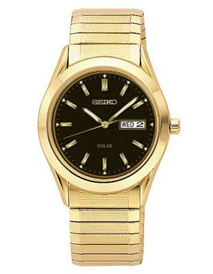 Seiko Solar Mens Watch - Black Dial - Gold-Tone - Expansion Band - Day-Date