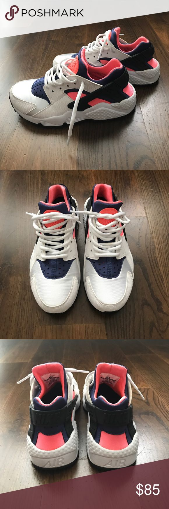 Nike HUARACHES Women's Nike huaraches in white with blue and coral trim. Worn less than 5 times. Most comfortable sneakers or there! Runs 1/2 size small. I normally wear 6.5 but these are 7s. Nike Shoes Athletic Shoes