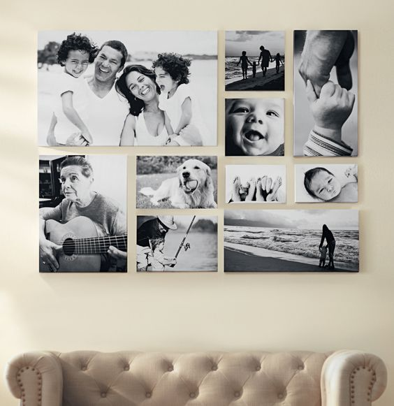 Create a black and white gallery wall of favorite family pictures. HomeDecorators.com