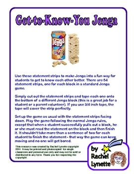 Get to Know you Jenga! -  Pinned by @PediaStaff – Please Visit ht.ly/63sNt for all our pediatric therapy pins