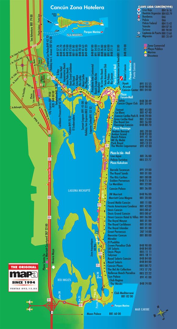 Cancun Mapa Zona Hotelera
