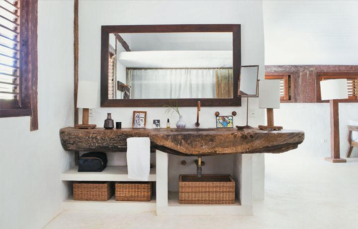 Bathroom Counter!Nature Wood, Rustic House, Ideas, Brazil, Trees Trunks, Wood Counter, Beach House, Vanities, Bathroom Sinks