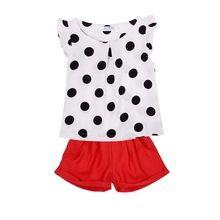 2 ШТ. Девочки Одежда Детская Топы Рубашка Красные Шорты Одежда Повседневная Одежда Набор(China (Mainland))