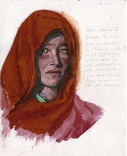 """Femme afghane, veuve Hazara de Bamyan, Afghanistan, Kobra - Titouan Lamazou, Interview de l'artiste et portraits de femmes, Exposition """"Femmes du monde"""" - Titouan Lamazou : """"Lorsque je suis parti en Afghanistan, j'avais en tête de rencontrer des Afghanes émancipées, qui assument des postes à responsabilités. J'ai passé trois..."""