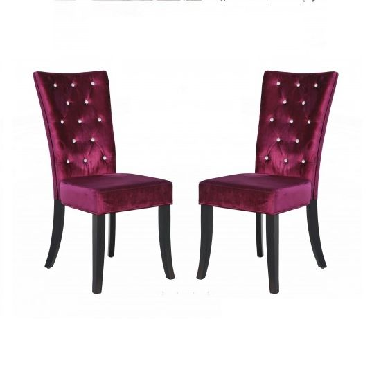 Belfast Dining Chair In Crushed Purple Velvet A Pair
