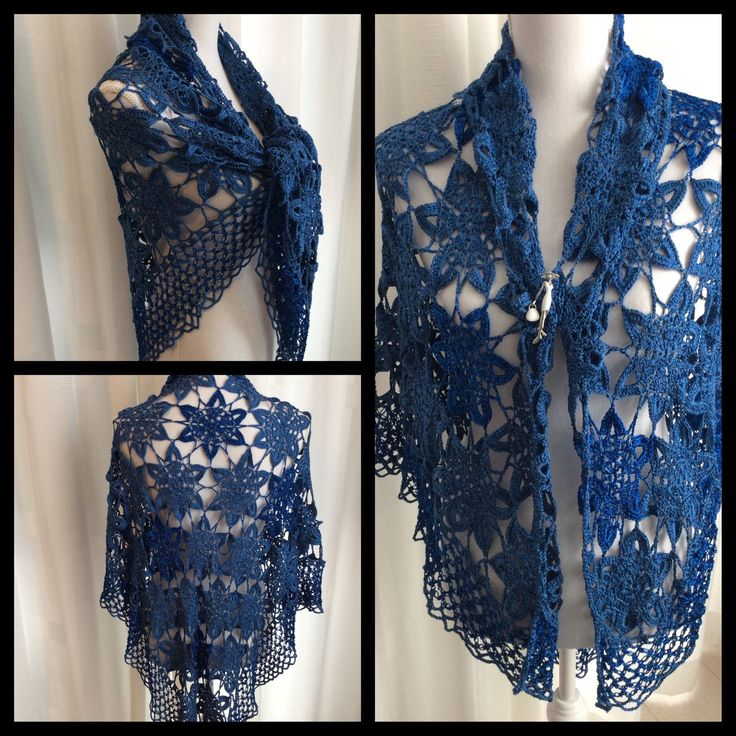Gehaakte bloemensjaal voor de zomer heerlijk koel en zacht. . In 2 kleuren blauw. Donkerblauw hier en daar met glitter in bloem. Zie foto uitvergroot. Kan gedragen worden als bolero of jasje of poncho door deze voor te sluiten met broche. Royale maat.