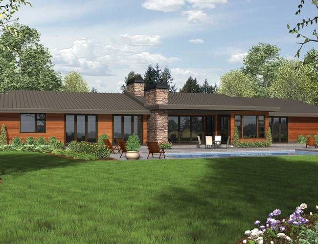 Modern modern ranch and mid century modern on pinterest for Mid century modern ranch style house plans