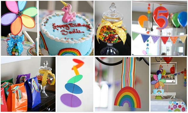 rainbow birthday party - I like the circle streamers and the invitation on this post