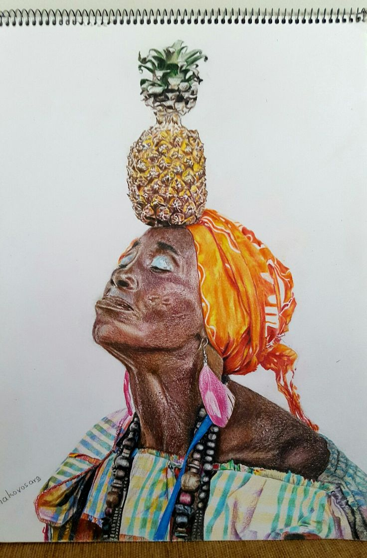 """Cuban woman"", colored pencil on paper, 30×40 cm."