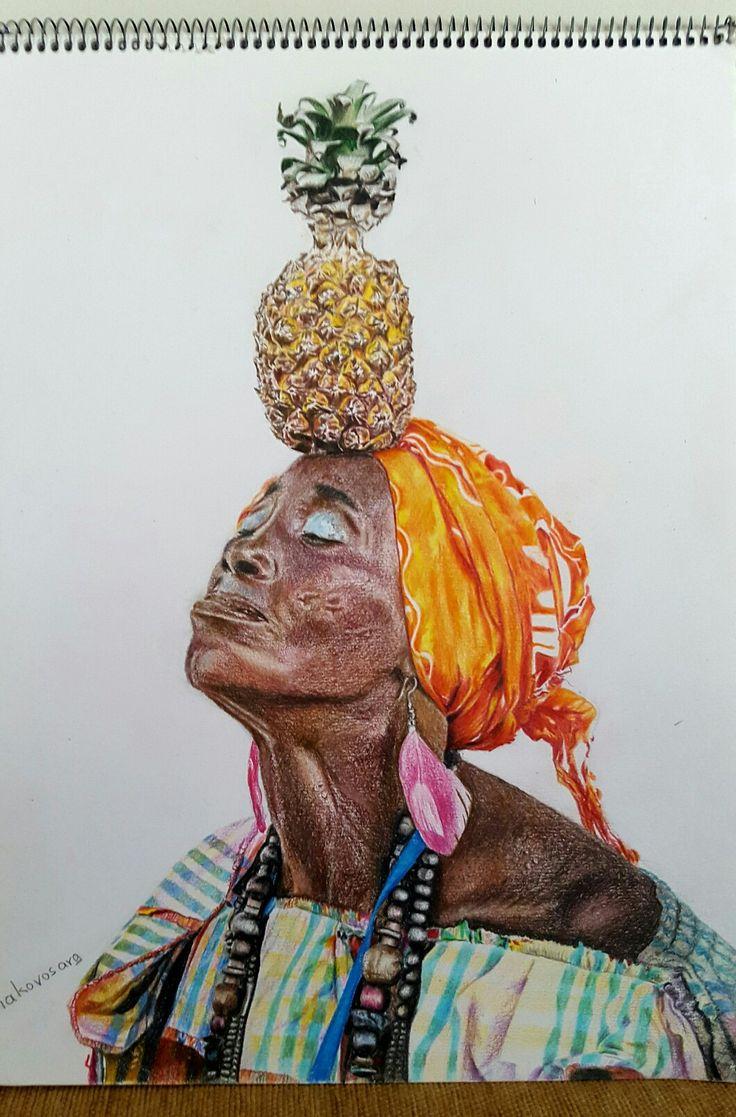 """Cuban woman"", colored pencil on paper, 30×40 cm."