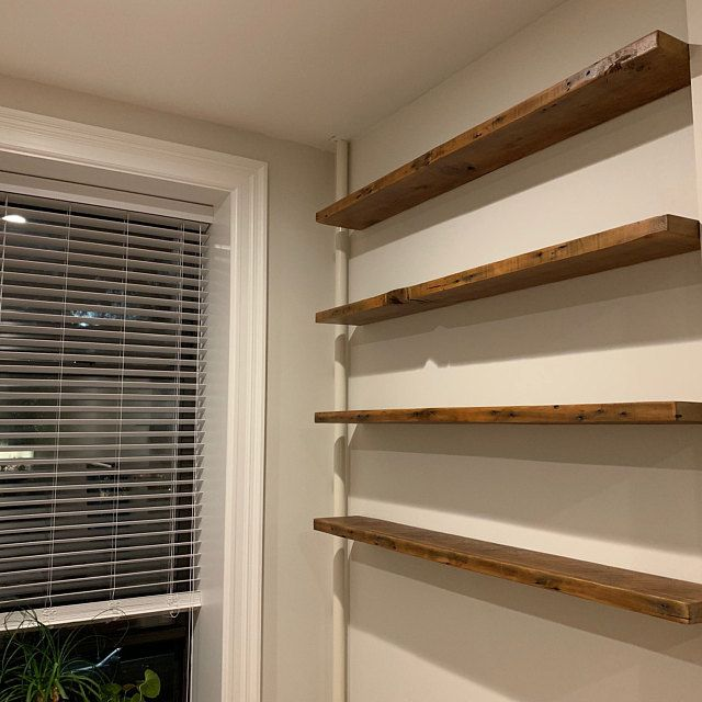 6 Deep Reclaimed Wood Shelves With 2 Handmade Steel Etsy In 2020 Wood Shelves Reclaimed Wood Shelves Oak Floating Shelves