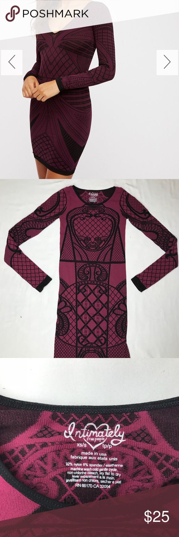 Intimately Free People BodyCon Dress XS/S Maroon Super Sexy bodycon Intimately Free People Dress, Size XS/S. Get revenge on that asshole who dumped you by wearing this to a mutual friend's Holiday party. Would also make a great dress for showing off your sick gains since you started Crossfit. Like new condition. 92% Nylon/8% Spandex. Made in USA 🇺🇸 Free People Dresses Mini