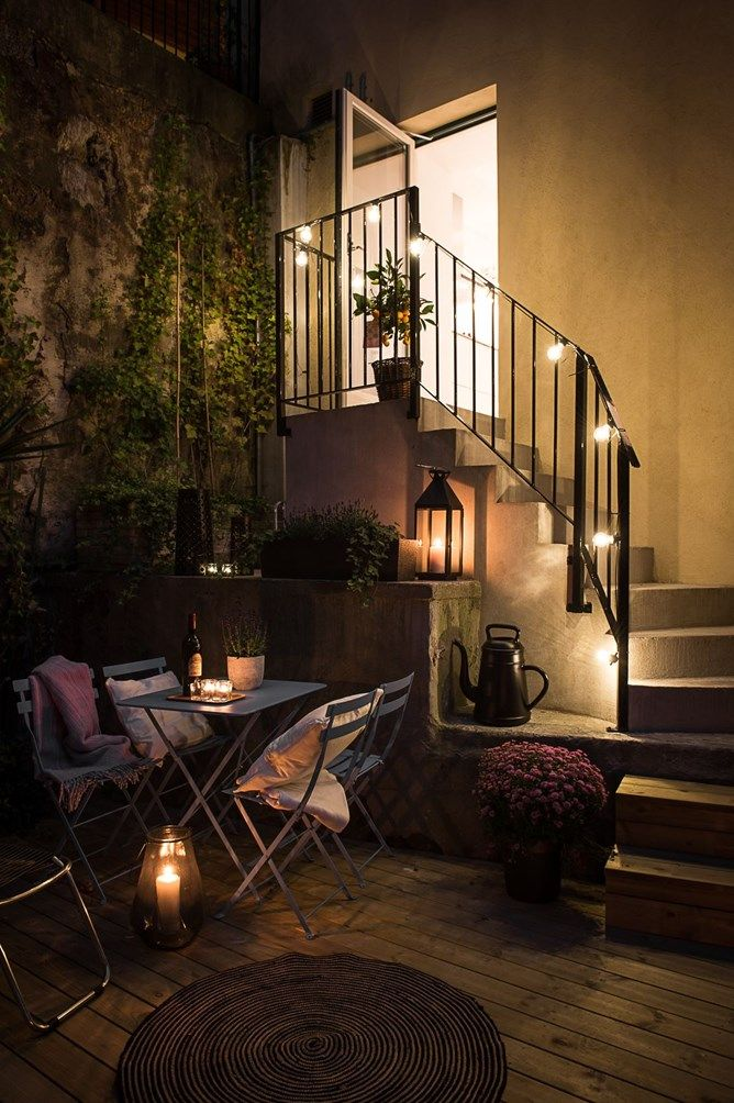 Perfect cozy terrace with string lights