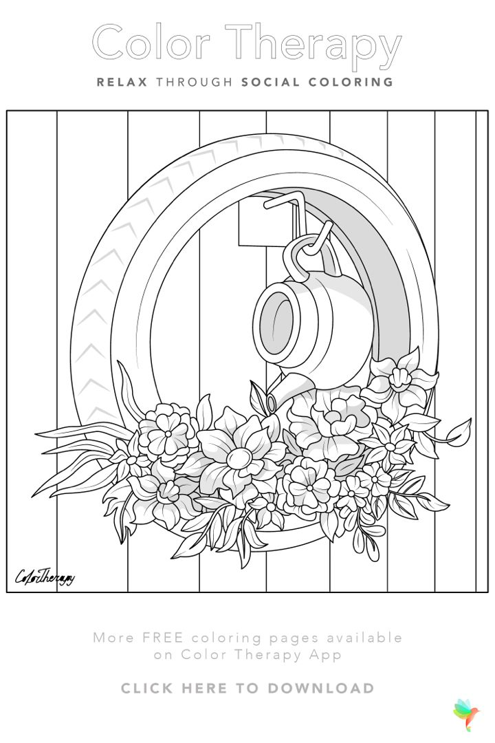 Color Therapy Gift Of The Day Free Coloring Template Coloring Pages Coloring Book Art Color Therapy