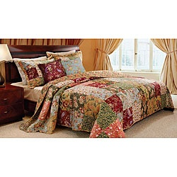 @Overstock - Vibrant floral and paisley prints highlight this oversized king-size quilt set. Constructed of soft cotton, the quilt reverses from a lovely patchwork to a vintage-inspired floral back.http://www.overstock.com/Bedding-Bath/Antique-Chic-5-piece-King-size-Quilt-Set/3915400/product.html?CID=214117 $119.99