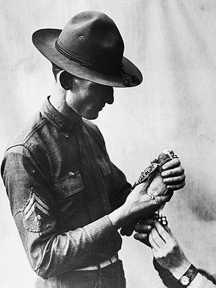 """Cher Ami (French for """"Dear Friend"""") was one of 600 pigeons which had been donated by pigeon fanciers in Great Britain during World War I for use by the U.S. Army Signal Corps in France. Trained by American Signal pigeoneers, Cher Ami delivered 12 messages during the war. His final message helped save """"The Lost Battalion"""" of the 77th Division during the Meuse-Argonne Offensive in October 1918."""