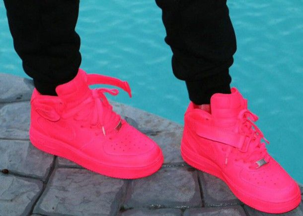 shoes neon pink nike air force 1s.