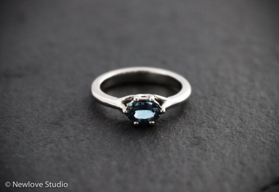 Handcrafted unique purple blue sapphire and palladium engagement ring by NewloveStudio
